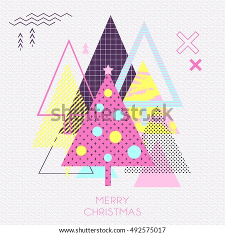 Simple winter holiday geometrical gift card in retro comic style of 80s-90s with bright christmas trees. Vector background perfect for cards wallpapers poster design