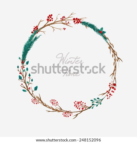 simple winter wreath made of