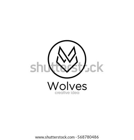 Simple Wolf Creative Concept Logo Design Template