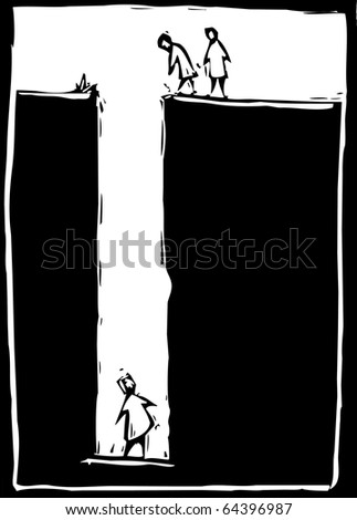 simple woodcut image of a person trapped at the bottom of a hole. - stock vector