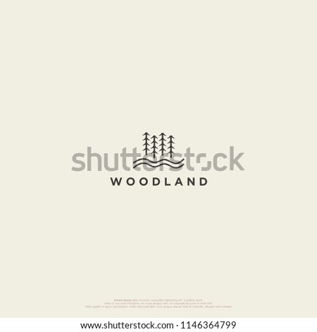 simple woodland logo  forest