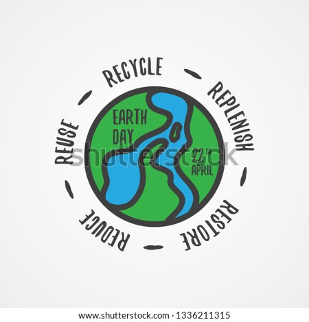 Simple word letter earth day with simple linear world map. Design letter earth day with quote. Vector illustration EPS.8 EPS.10