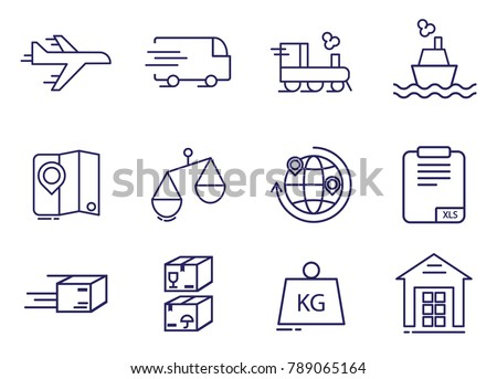 Simple world logistic line icons set. Cargo delivery with warehouse, globe, airplane, truck, train and ship icons. Vector illustration