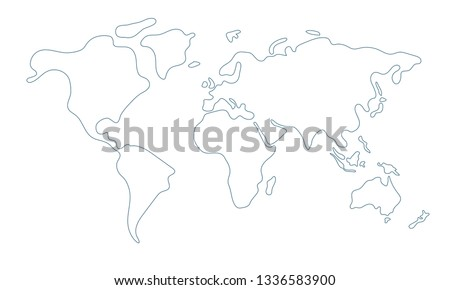 Simple world map in doodle style isolated on white background. Vector illustration.