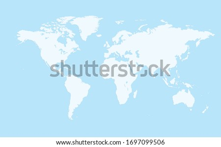 simple world map, light blue background