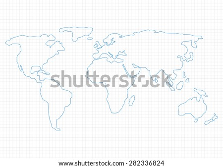 Simple World Map on graph paper, Vector illustration
