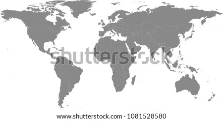 simple world map outline vector with countries borders in gray background
