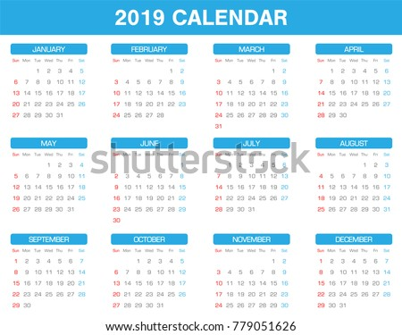 simple 2019 year calendar set of all month