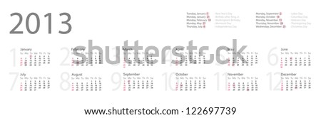 Simple year 2013 calendar with federal holidays