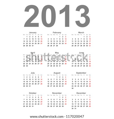 Simple 2013 year vector calendar - stock vector