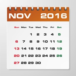 Simple 2016 year vector calendar with free space for your sample text : November 2016