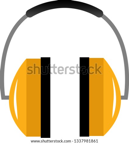 Simple, yellow construction headphones on white background. Perfect to use as an icon or logo. Zdjęcia stock ©