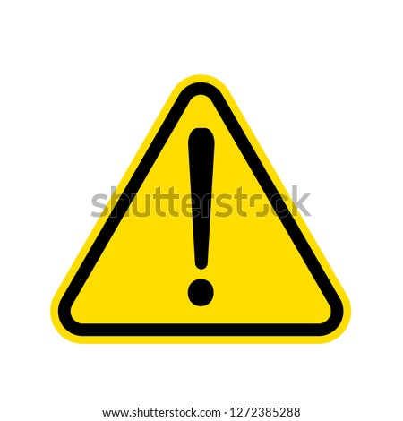 Simple Yellow Warning mark on white background