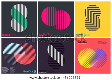 Simplicity Geometric Design Set Clean Lines and Forms In Yellow Pink color