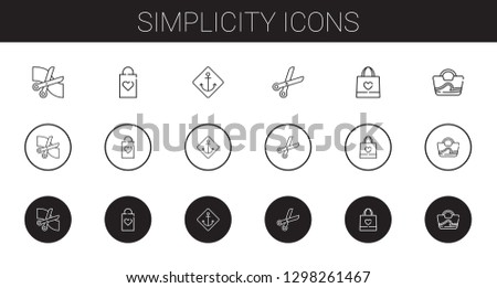 simplicity icons set. Collection of simplicity with scissors, shopping bag, anchor, bag. Editable and scalable simplicity icons.
