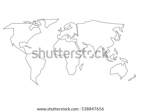 Free world map 45 lines vector simplified black outline of world map divided to six continents simple flat vector illustration on gumiabroncs Choice Image