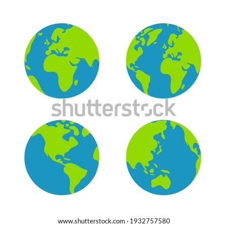 Simplified earth globe vector illustration set
