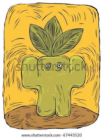 Simplified Figure of a nature-loving Green Man with three big leaves on his head on a yellow background. Environmental idea. Ecology