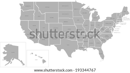 Simplified vector map of United States of America with full names of states