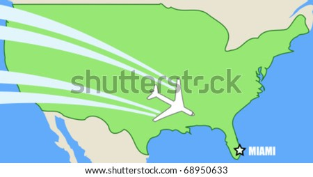 Simplified vector map of USA with airplane inflight to destination Miami, Florida