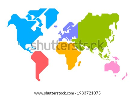 Simplified world map drawn with sharp straight lines (different colors for each continent)  Stockfoto ©