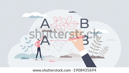 Simplify difficult or complex path with straight shortcut tiny person concept. Unclear business route solution and messy problems solving vector illustration. Tricky project management to success goal