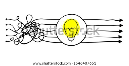 Simplifying the complex, confusion clarity or path. vector idea concept with lightbulbs doodle illustration ストックフォト ©