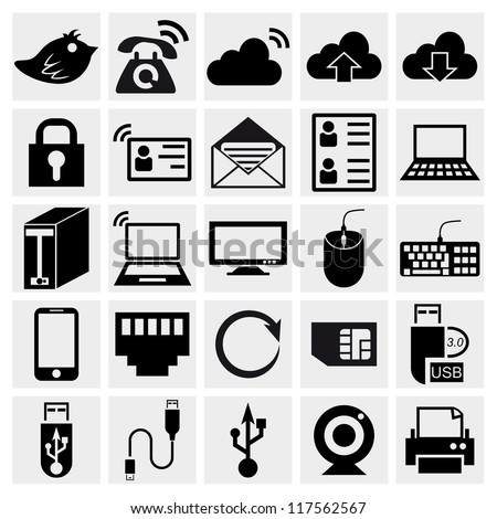 Simplus series icon set. Network and mobile devices. Computer Hardware Icons. PC Components. Simplus series. Internet icons set - stock vector