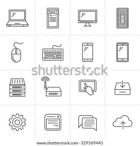 Simplus series icon set. Network and mobile devices. Network connections. Vector outlined icons. Linear style