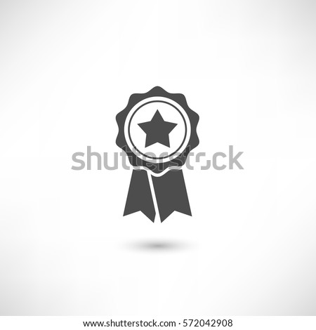Simply award medal badge with star icon. certificate ui symbol. Stamp premium quality with ribbons pictogram. First place label user interface sign. EPS10 vector.