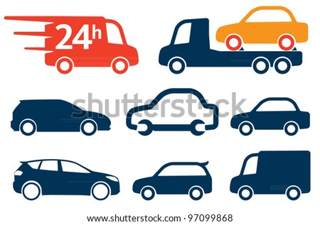Simply cars icons, signs set - stock vector