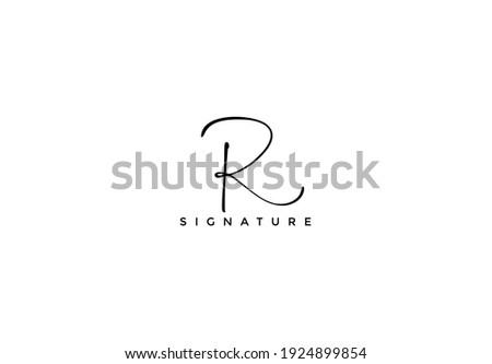 Simply Minimalist Initial R Signature Logo Stok fotoğraf ©