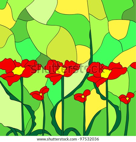 Simulated stained glass depicting flowers.