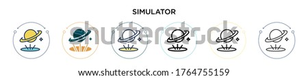 simulator icon in filled  thin