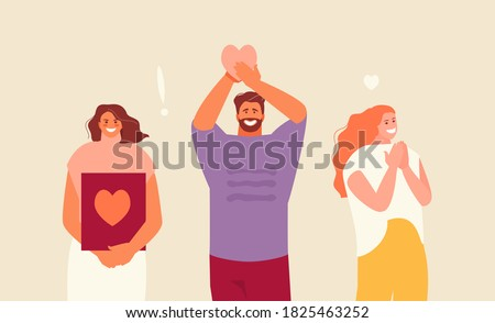 Sincere grateful smiling people saying thank you Stock photo ©