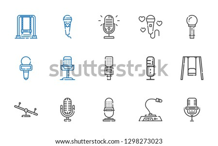 sing icons set. Collection of sing with microphone, swing. Editable and scalable sing icons.