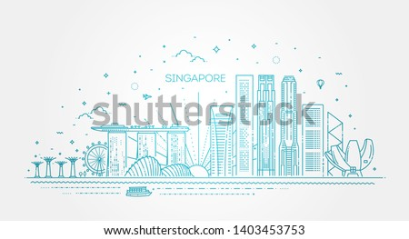 Singapore architecture line skyline illustration. Linear vector cityscape with famous landmarks