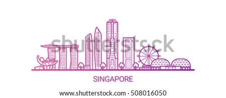 singapore city colored gradient