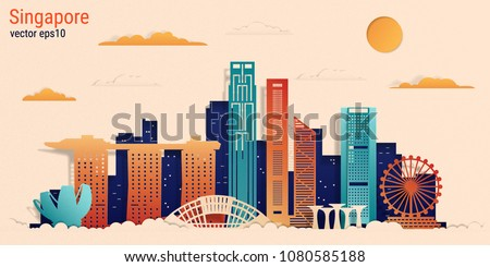 Singapore city colorful paper cut style, vector stock illustration. Cityscape with all famous buildings. Skyline Singapore city composition for design