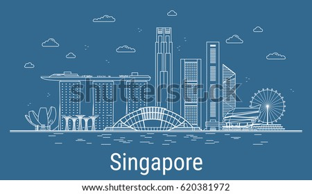 singapore city line art vector