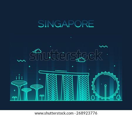 singapore city skyline detailed