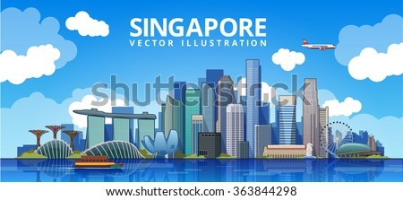 Singapore city skyline. vector illustration