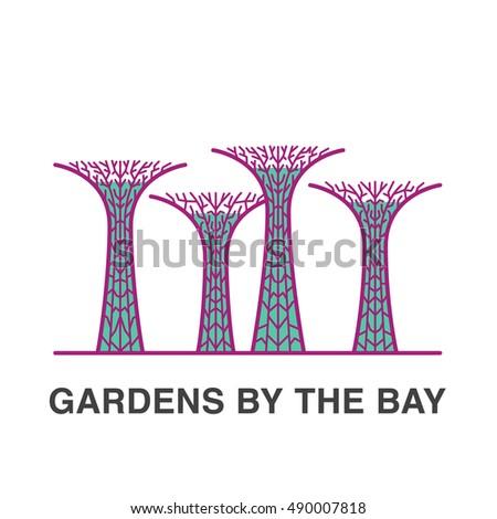 Singapore famous gardens flat illustration stock photo