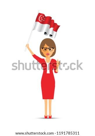 Singapore flag waving woman
