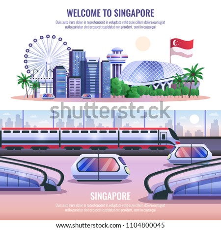 Singapore horizontal banners with modern metropolis architecture and autonomous unmanned vehicles and headline welcome to singapore  vector illustration
