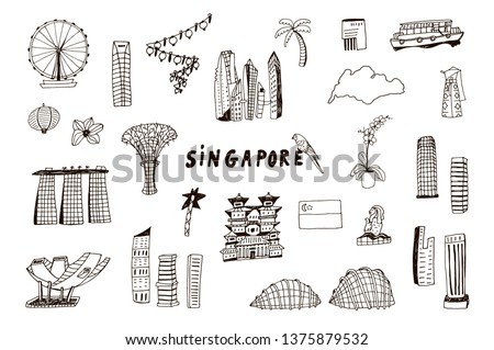 Singapore line design with city attractions. Travel vector illustration for tourist guides, flyers.