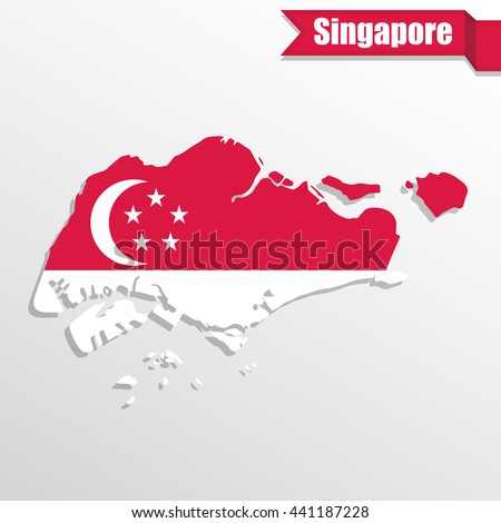 Singapore map with flag inside and ribbon