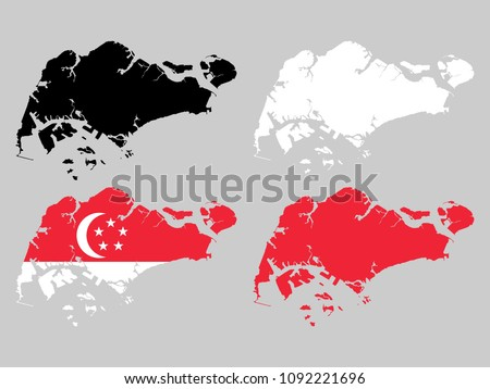 Singapore map with national flag decoration