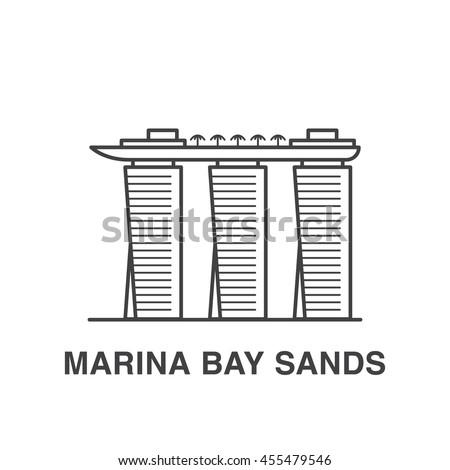 Singapore Marina bay sands line art illustration.