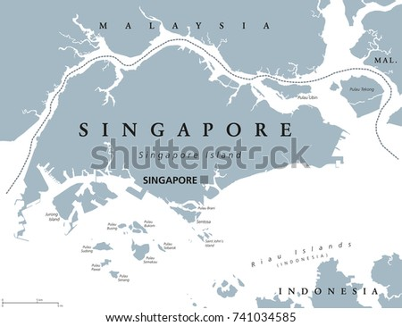 singapore political map with